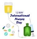 International Nurses Day. 12 May. Tablets, medications, syringe, warmer, enema. Vector illustration.