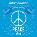 International Peace Day. Poster with peace symbol and dove.