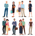 International people and couples with shopping bags collection. Royalty Free Stock Photo