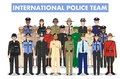 International police people concept. Detailed illustration of SWAT officer, policeman, policewoman and sheriff in flat