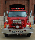 International pumper fire truck front view vintage shows the mounted pumps Stock Image