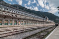 International railway station canfranc huesca spain located in a valley in the pyrenees Royalty Free Stock Photos
