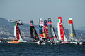 International regatta the start of the america s cup world series of naples in italy Royalty Free Stock Photos