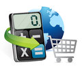 International shopping and modern calculator illustration design over white Stock Photography