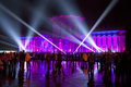 International show circle of light in moscow october illumination the building at an exhibition vdnh during the festival on Stock Images