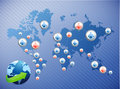 International social media network illustration design over a world map Royalty Free Stock Photography