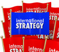 International strategy words flags global policy diplomacy on to illustrate trade and between nations and countries of the world Royalty Free Stock Photos