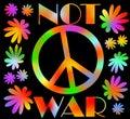 International symbol of peace disarmament anti war movement grunge street art design in hippies rainbow colors inscription not Royalty Free Stock Photo