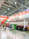 International trade fair of construction equipment and technologies moscow june automobile semitrailers spanish company rojo at Royalty Free Stock Images