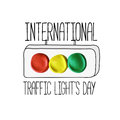 International traffic lights day poster Royalty Free Stock Photo
