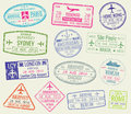 International travel visa passport stamps vector set Royalty Free Stock Photo