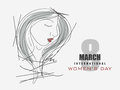 International women s day celebration with beautiful girl face black and white illustration of a young for march Stock Photography