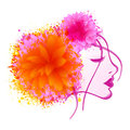 International women s day celebration with young girl face beautiful closing her eyes flowers and color splash on white background Stock Photography