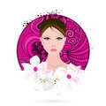 International women s day celebration with young girl face beautiful on floral decorated white background Stock Images