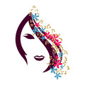 International women s day celebration with young girl face beautiful flowers decorated hairs on white background for Royalty Free Stock Photos