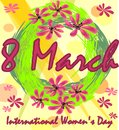 International Women's Day in grunge design with spring wreath and red flowers. 8th March greeting billboard or placard Royalty Free Stock Photo