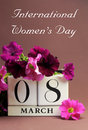 International Women's Day, March 8, calendar - Vertical with message Stock Photos