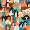 International Womens Day. Vector seamless pattern with women faces.