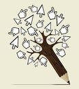 Internet activity concept tree mouse over click hand and arrow pencil vector illustration layered for easy manipulation and custom Stock Photography