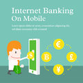 Internet banking on mobile Royalty Free Stock Photo