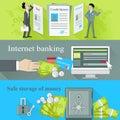 Internet Banking and Safe Storage Money Royalty Free Stock Photo