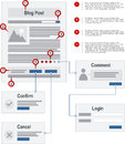 Internet blog site map navigation structure protot prototype vector with pointer markers Royalty Free Stock Image