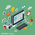 Internet blogging web publication journalism blog management vector concept flat d isometric illustration Stock Photo