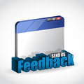 Internet browser feedback d blue sign illustration design over white Royalty Free Stock Photo