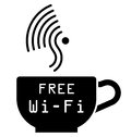 Internet cafe free wifi symbol monochrome isolated on white background Royalty Free Stock Photo