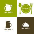 Internet cafes wireless free connection wifi icons with coffee beer spacing fork spoon for remote access poster design Royalty Free Stock Photos