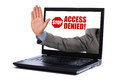 Internet censorship stop gesture through a laptop screen concept for and access denied Stock Image