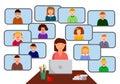 Internet class.Teacher and children - online distance learning