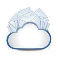 Internet cloud with envelopes means messaging Royalty Free Stock Photo