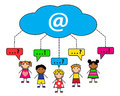 Internet communication cloud and cartoon people with dialogue bubbles Royalty Free Stock Photography