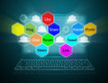 Internet communication and concept cloud computing Stock Photos