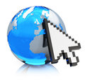 Internet concept creative www and global communication network blue glass earth globe with arrow computer mouse cursor on white Royalty Free Stock Photo