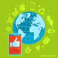 Internet concept with flat design icons for social media vector Stock Photo