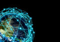 Internet concept of global business and major air routes based on real data highly detailed planet earth at night surrounded by a Stock Photos