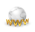 Internet concept golden www text front of the silver world Stock Photography
