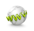 Internet concept www text front of the world Stock Photo