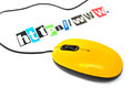 Internet connection orange colored computer mouse with lettering http www Stock Photography