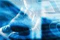 Internet crime concept.Hacker on blue digital background. Royalty Free Stock Photo