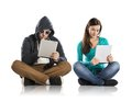 Internet danger concept of potentional with teen girl amd men in disguise Stock Photos