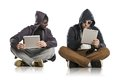 Internet danger concept of potentional with two men in disguise Stock Photos