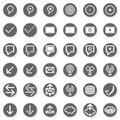 Internet database web connection gray monochrome r round button set isolated on white background Royalty Free Stock Photos