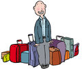 Internet date sheepish man surrounded by much luggage Stock Image