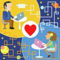 Internet dating illustration of man and woman chatting on the Royalty Free Stock Images