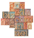 Internet domains in wood type Royalty Free Stock Photo