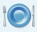 Internet food fork plate knife binary cod Stock Image