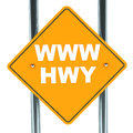 Internet highway or www concept yellow road sigh with www hwy text white background Royalty Free Stock Photography